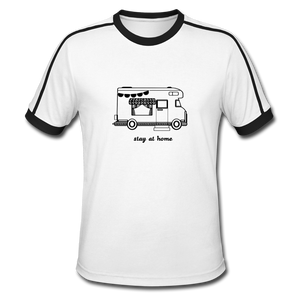 "Men's Retro T-Shirt ""Stay at home"" - Weiß/Schwarz"
