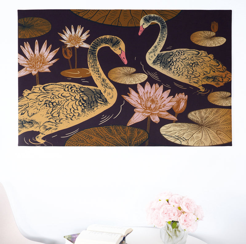 Image – mural – textile picture – artwork – different colours of brown – golden – soft pink – water – rose – two swans – majestic – slight waves – non flammable – rectangular