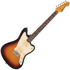 VINTAGE OFFSET V65 REISSUED HARD TAIL ELECTRIC GUITAR ~ TOBACCO SUNBURST - Varsity Music Shop
