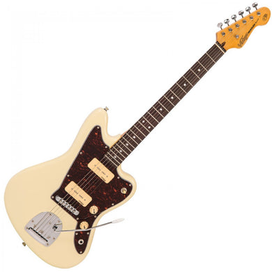 VINTAGE OFFSET V65 REISSUED VIBRATO ELECTRIC GUITAR ~ VINTAGE WHITE - Varsity Music Shop