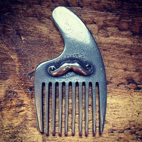 Pewter Moustache And Beard Comb