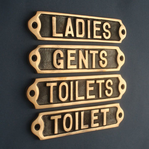 Bronze Toilet Door Signs