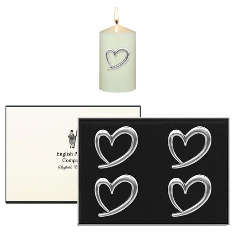 Heart Pewter Candle Pins