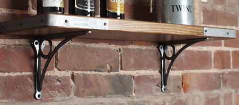 Wooden Scaffold Shelf With Cast Iron Brackets