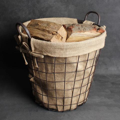 Rustic Metal Log Basket