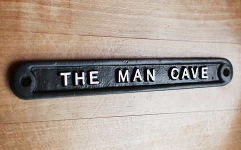 Cast Metal Man Cave Sign