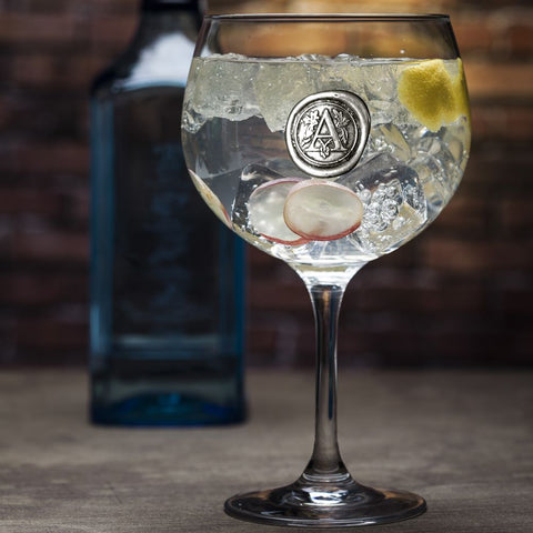 Monogrammed In Pewter Personalised Gin Glass
