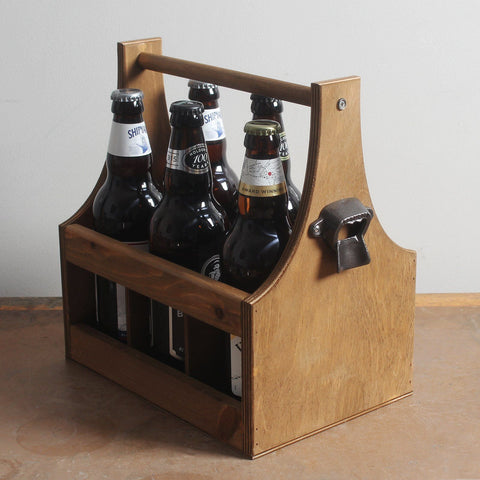 Wooden Beer Bottle Carrier With Cast Iron Bottle Opener