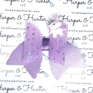 Violet Galaxy Unicorn Bow