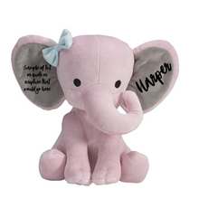 Load image into Gallery viewer, Custom Name/ Birth Stats Plush Elephant
