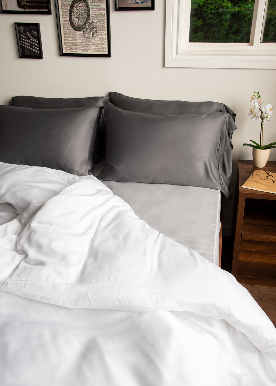 White Bamboo Duvet Cover lifestyle used bed shot