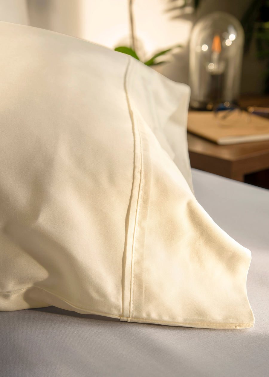 ivory bamboo pillow cases close up image