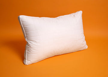 premium gusseted white quilted silk pillow
