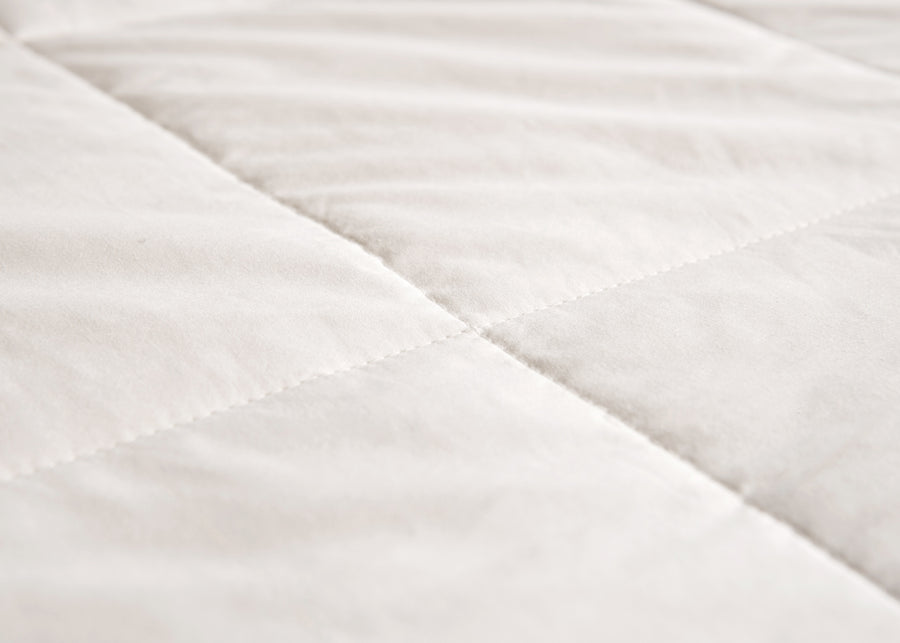 swatch texture of premium white silk duvet