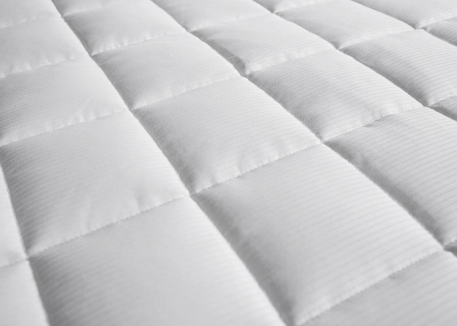 swatch texture of white striped luxury micro-cluster cotton mattress pad