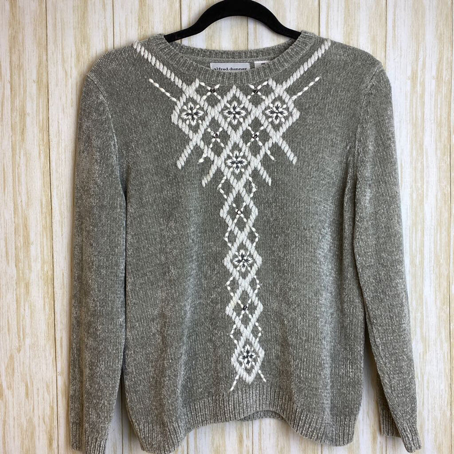 Alfred Dunner Sweater Silver M Pet.