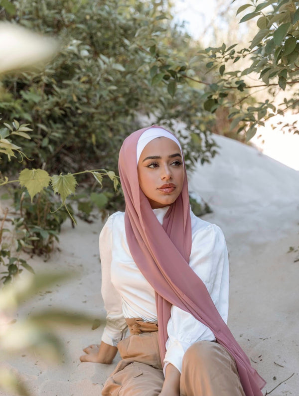 Luxury Chiffon Hijab- Rosey Brown
