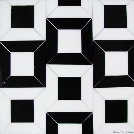 Custom Tile Pattern: 3-D Cubes (black &white)