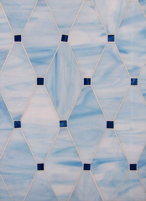 Custom Tile Pattern: Diamond Dots in Blue