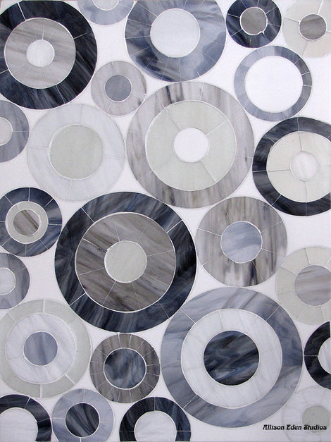 Custom Tile Pattern: Mod Circles (Grey, Black & White 3X5)