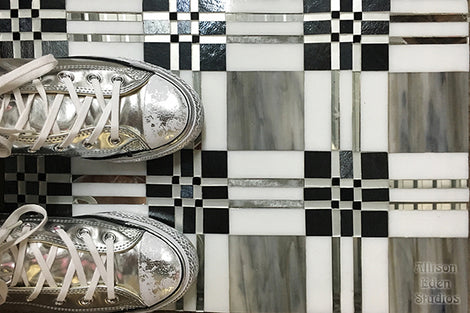 Custom Tile Pattern: Sneakers on Plaid