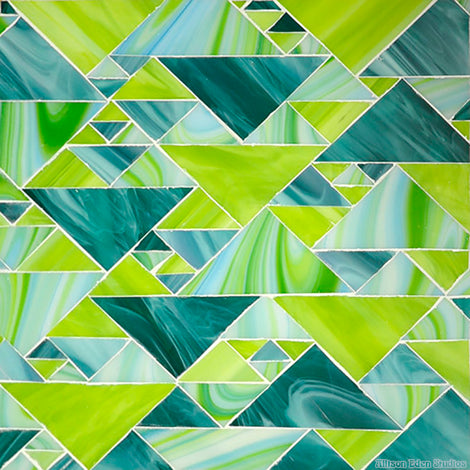 Custom Tile Pattern: Triangles (Lime Green & Blue Green)