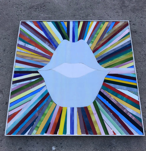 "Sunburst SMILE stained glass (20"" X 20"")"