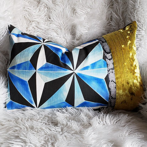 Blue Jewel- Gold Trim- Custom Pillow