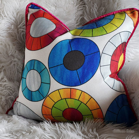 Groovy Mod Halo Circle Pillow