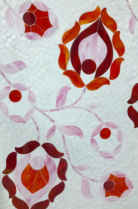 Custom Tile Pattern: Orange Red Pink Flowers