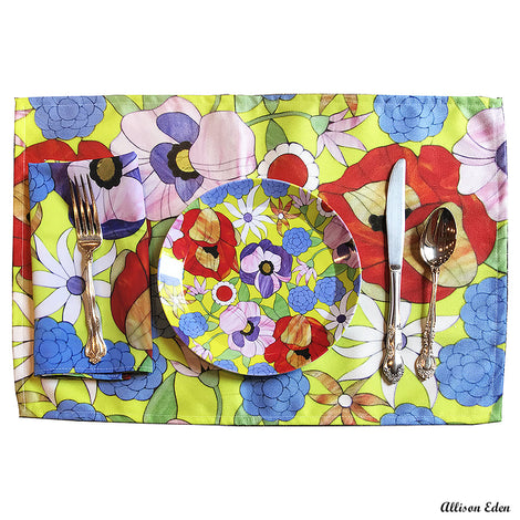 Spring Meadow Floral Fabric Placemats