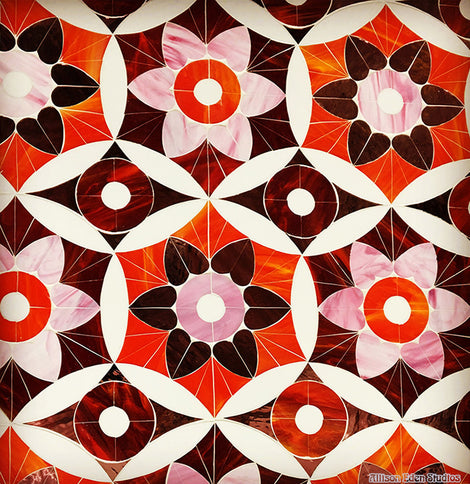 Custom Tile Pattern: Pink & Red Floral/Petal Pattern