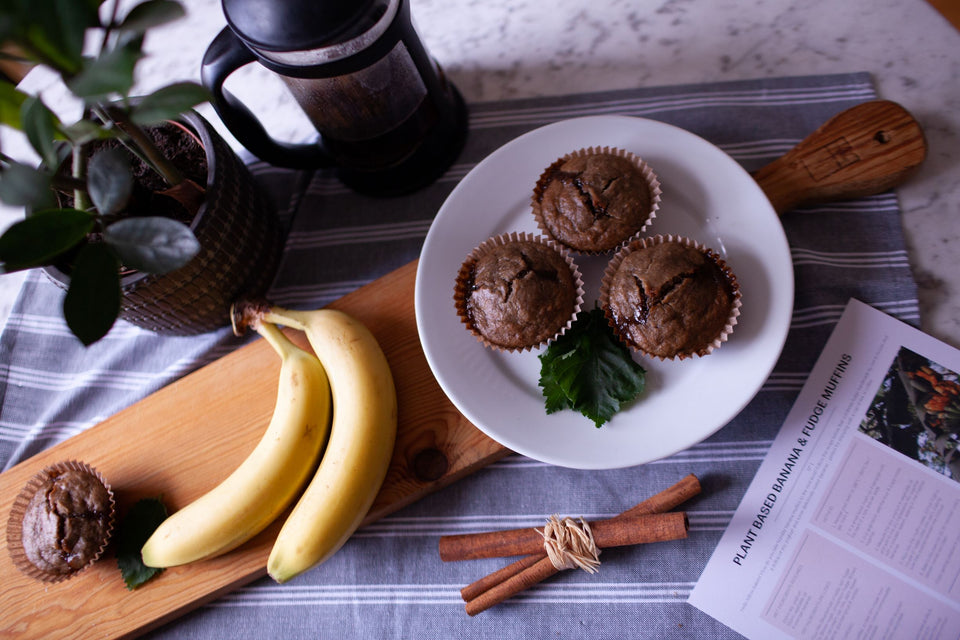 Vegan, Plant Based Banana and Fudge Muffin Baking Kit