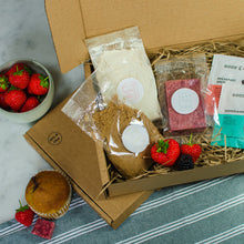 Load image into Gallery viewer, Vanilla & Strawberry Fudge Muffin Plant-Based Baking Gift Box