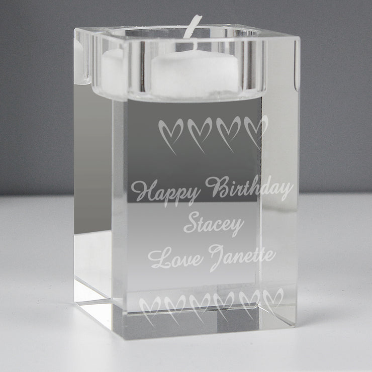 Personalised Small Hearts Glass Tea Light Candle Holder