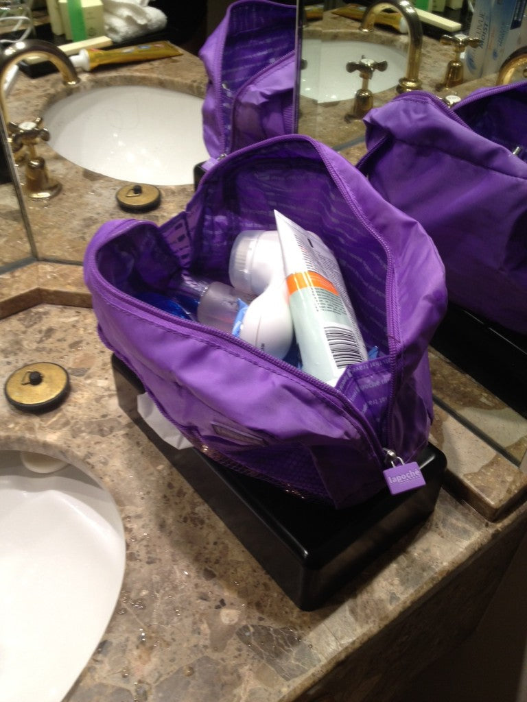 Lapoche large toiletry bag in use