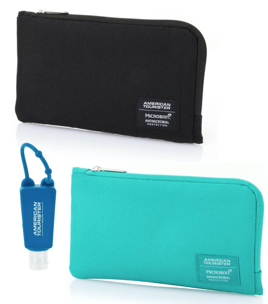 American Tourister Antimicrobial Storage Pouch with Reusable Hand Sanitiser Bottle