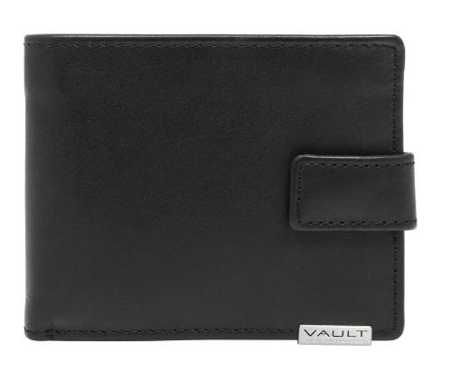 Vault RFID Men's Leather Wallet with Top Flap and Tab