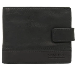Vault RFID Men's Nubuck Trim Leather Wallet with Top Flap and Tab