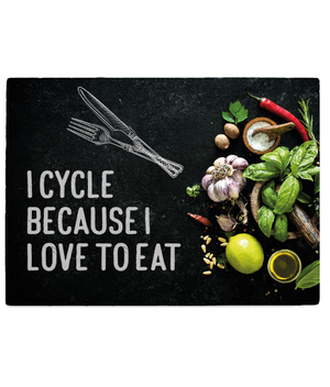 Tempered Glass Chopping Board - I Cycle Because I Love to Eat