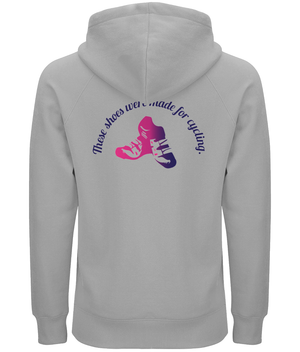 Shoes Made for Cycling Organic Cotton Unisex Pullover Hoodie - Front & Back Pink & Purple Design
