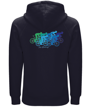 Slip Streaming Cycling Organic Cotton Unisex Pullover Hoodie - Front & Back Blue & Green Design