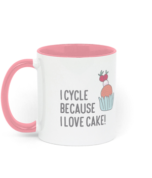 I Cycle Because I Love Cake - Two Toned Ceramic Mug - Choice of Colours