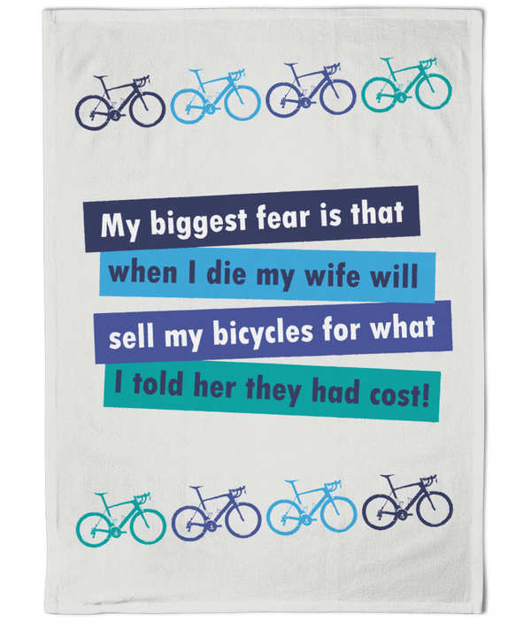 Cotton Tea Towel - Cyclists Biggest Fear Quote Cycling Designs