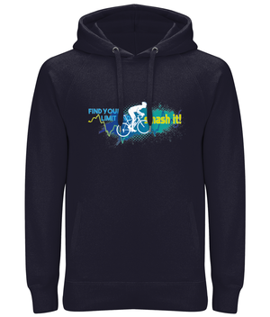 Find Your Limit Cycling Premium Cotton Unisex Pullover Hoodie with Side Pockets - Blue & Green Design