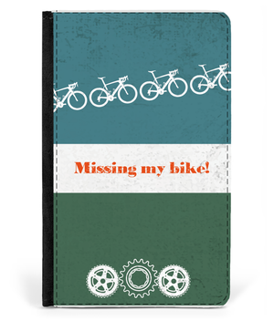 Passport Cover Faux Leather Passport - Missing My Bike - Green-01-01