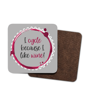 I cycle because I love wine - 4 Pack Hardboard Coaster Set