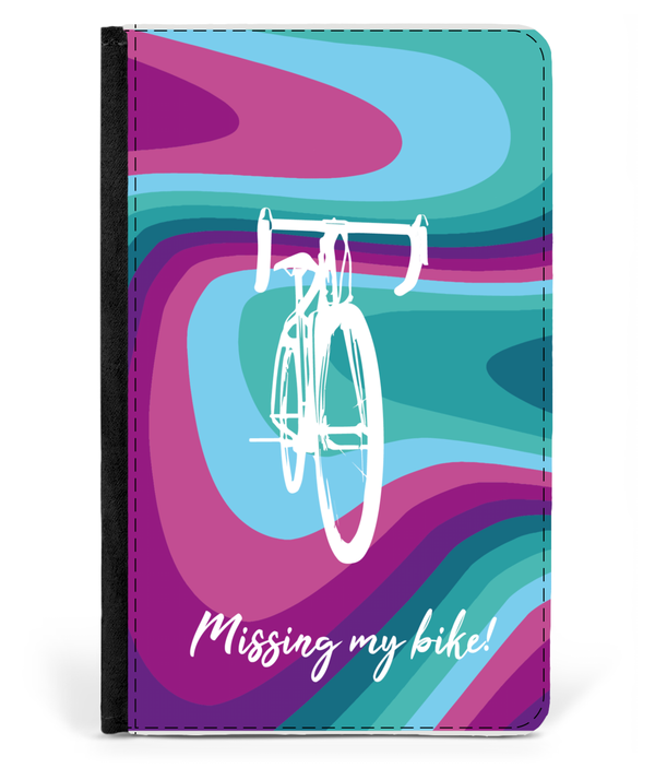 Passport Cover Faux Leather - Missing My Bike - Pink & Teal Design