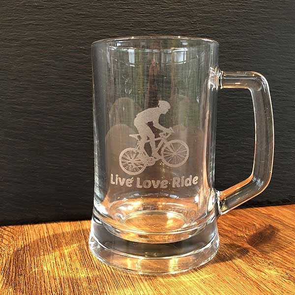 Beer Tankard - hand etched design Live Love Ride - Personalisation option