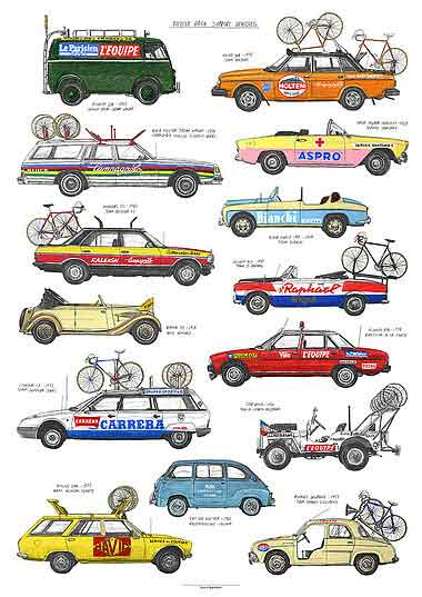 Bicycle Race Support Vehicles by David Sparshott - FREE UK DELIVERY